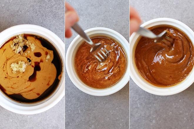 Làm nước sốt bơ đậu phộng gừng chấm phở cuốn kiểu Thái 1