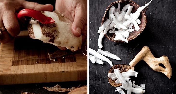 làm sạch cơm dừa để nấu nước cốt dừa 1