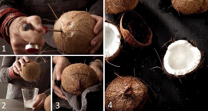 sơ chế cơm dừa để nấu nước cốt dừa 1
