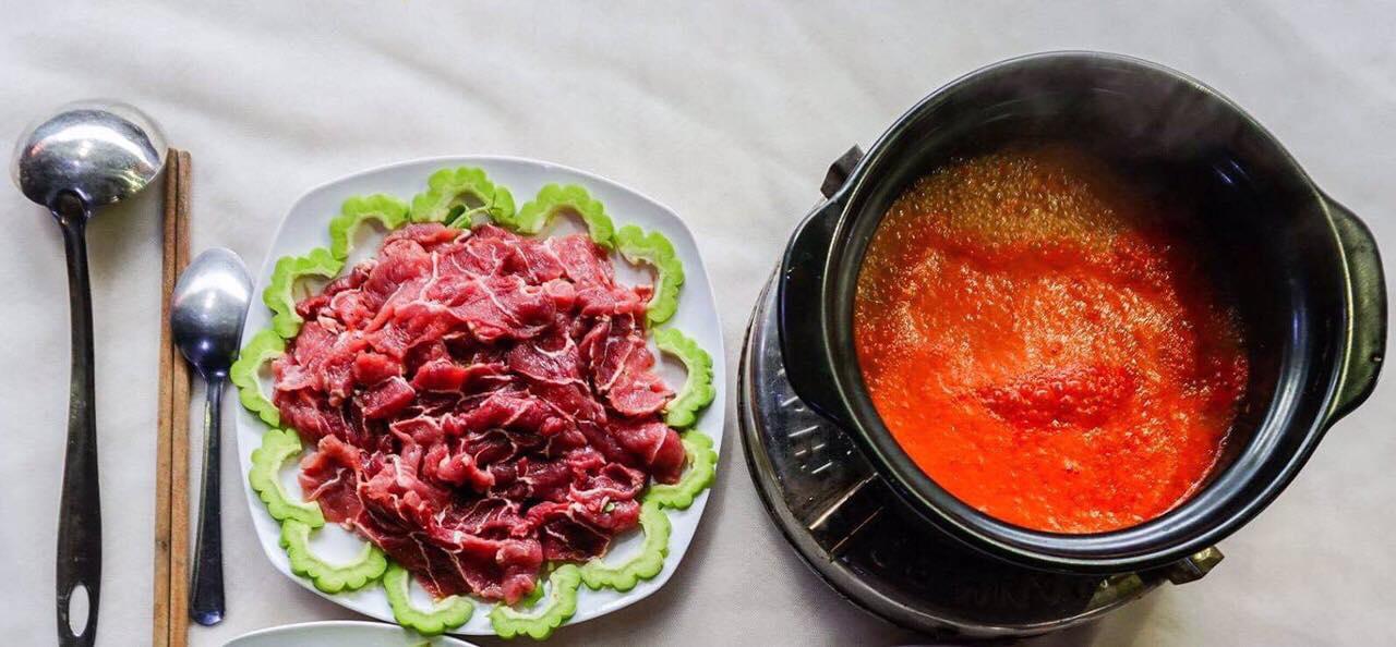 thịt bò nhúng ớt chua cay