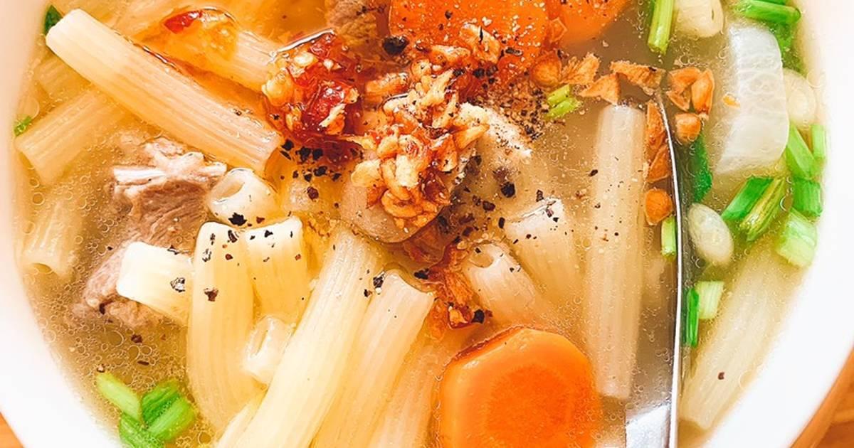 Cách làm nui nấu sườn rau củ