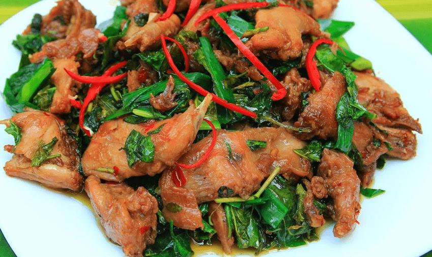 cách làm thịt chuột xào rau răm