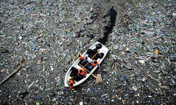Dòng nước trên Đầm Vacha, gần thị trấn Krichim ở Bulgaria bị phủ đầy bởi rác thải và chai nhựa.
