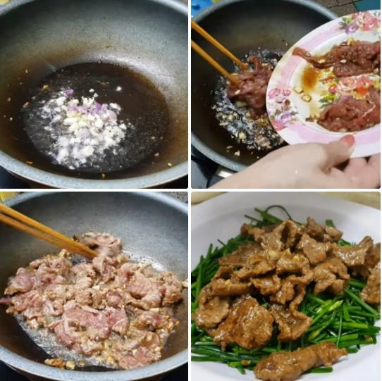 bông hẹ xào thịt bò 6