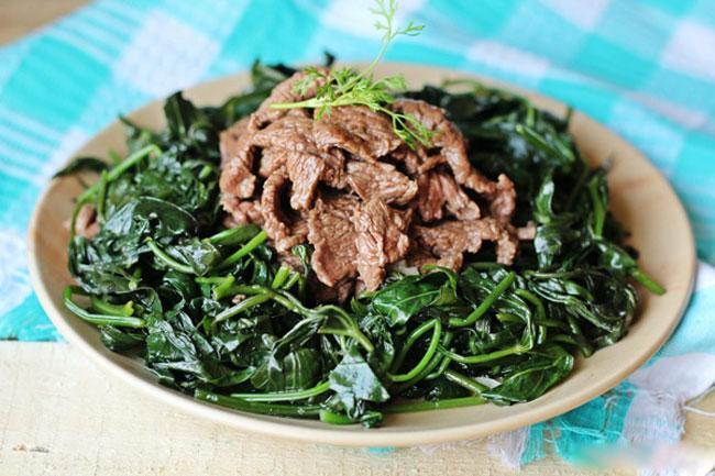 rau lang xào thịt bò 1
