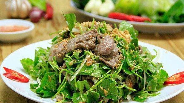 rau má xào thịt bò