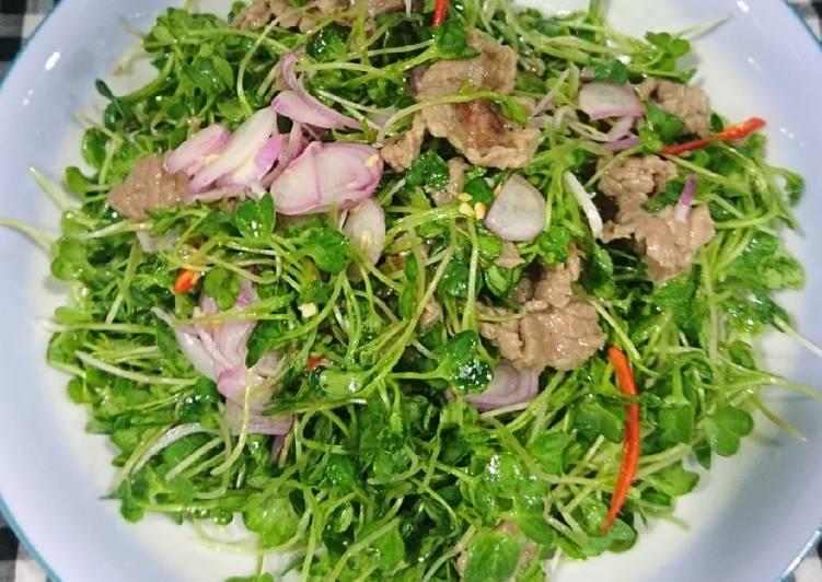 thịt bò xào rau mầm