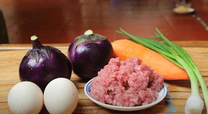 cà tím chiên trứng thịt băm 1