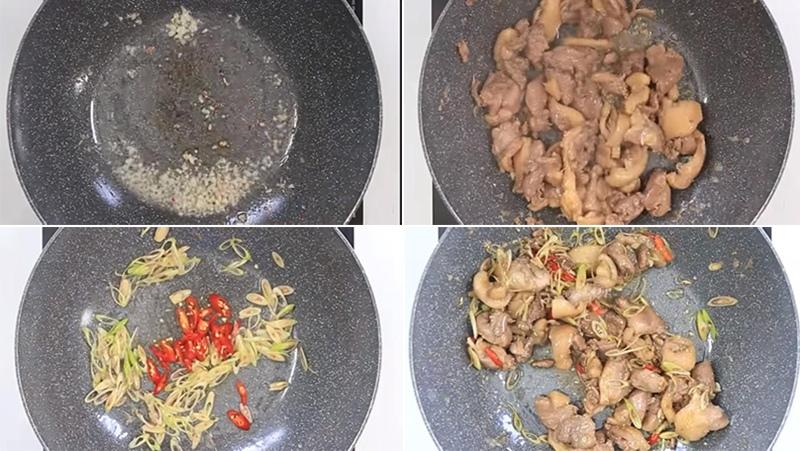 cách làm ngan xào rau ngổ sả ớt 3