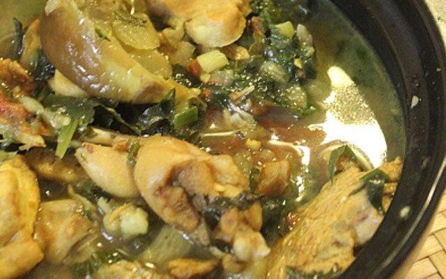 ếch nấu cà tím