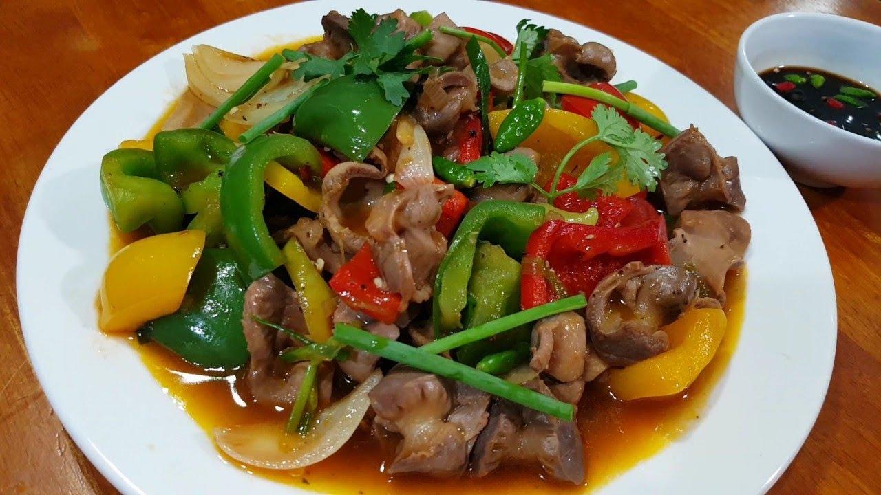 mề gà xào hành tây rau củ 5