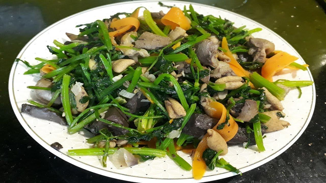 mề gà xào rau cải 1