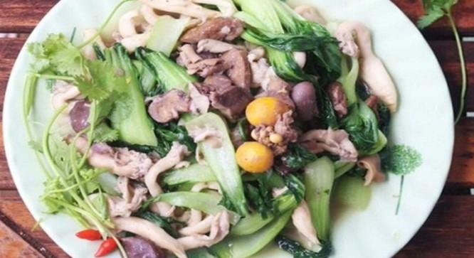 mề gà xào rau cải nấm sò 3