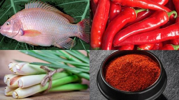 Nguyên liệu cho món cá diêu hồng chiên sả ớt