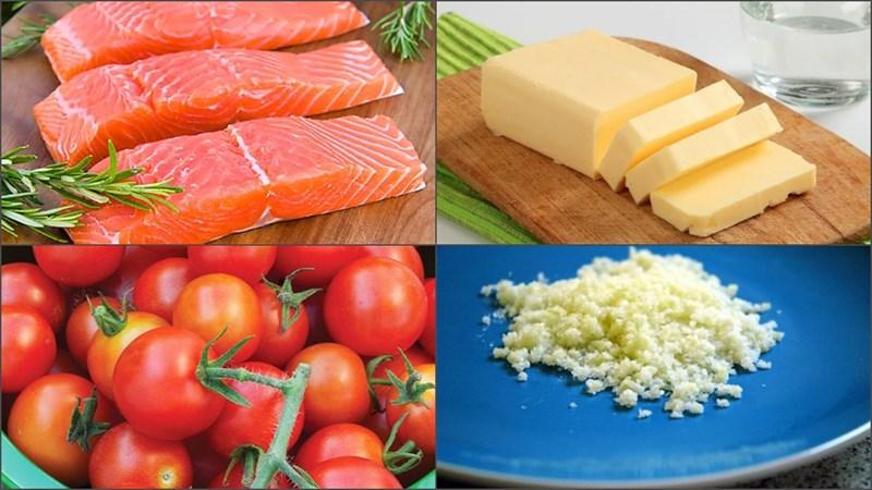 cá hồi áp chảo bơ tỏi cà chua 1