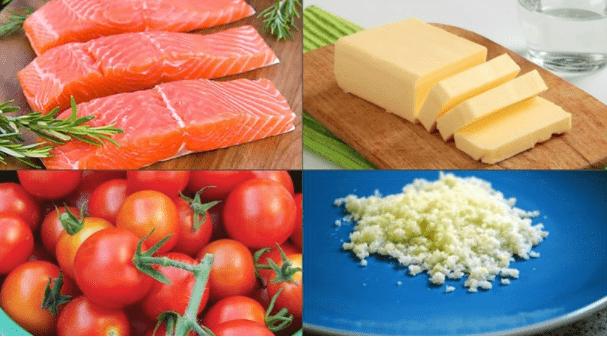 nguyên liệu làm cá hồi sốt bơ tỏi