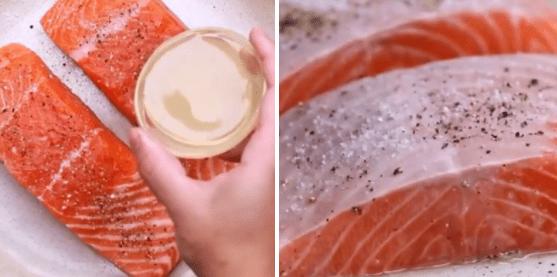 ướp cá hồi sốt bơ tỏi