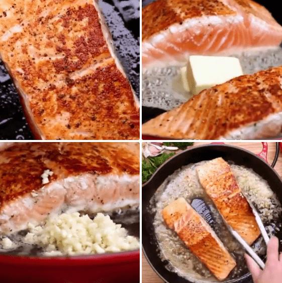 áp chảo cá hồi sốt bơ tỏi