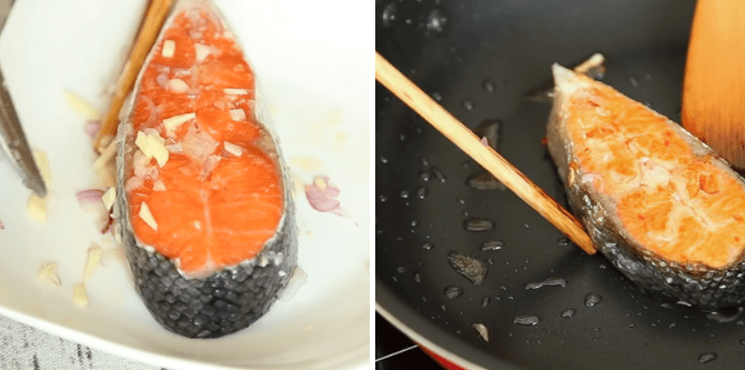 chiên cá hồi sốt cà chua