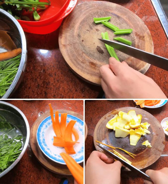 sơ chế nguyên liệu cá hồi sốt cam