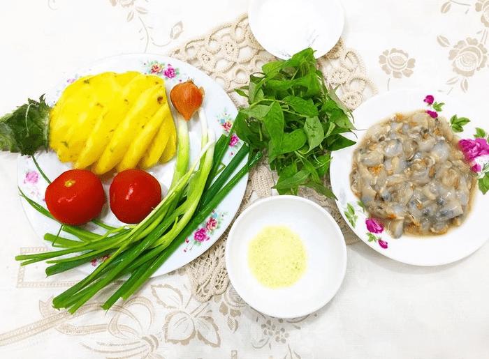 Cách làm canh hến nấu dứa 2