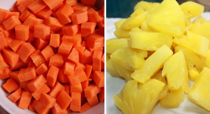 cách làm sinh tố cà rốt dứa 2