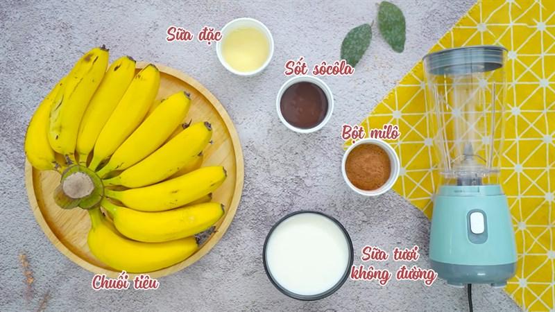 cách làm sinh tố chuối socola 1
