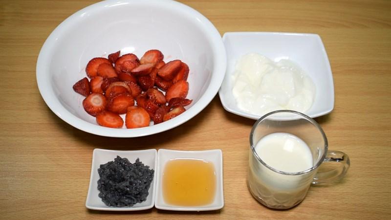 cách làm sinh tố dâu tây hạt chia 1