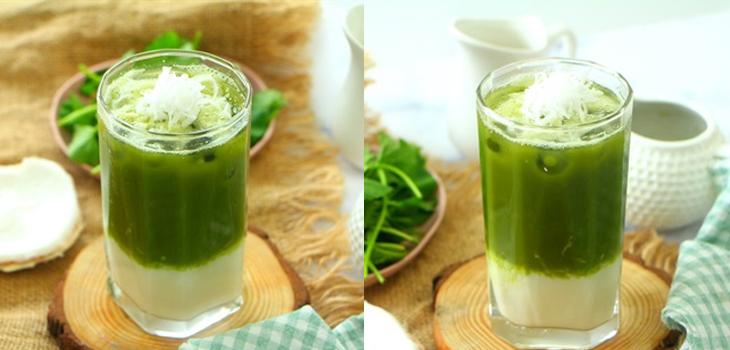 cách làm sinh tố rau má đậu xanh sữa dừa 4