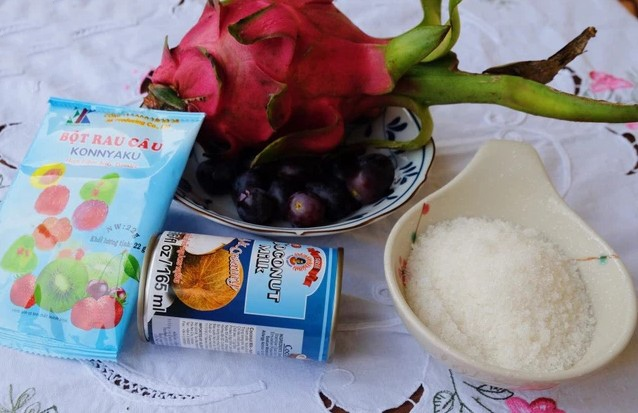 cách làm thạch hoa quả nước cốt dừa 1