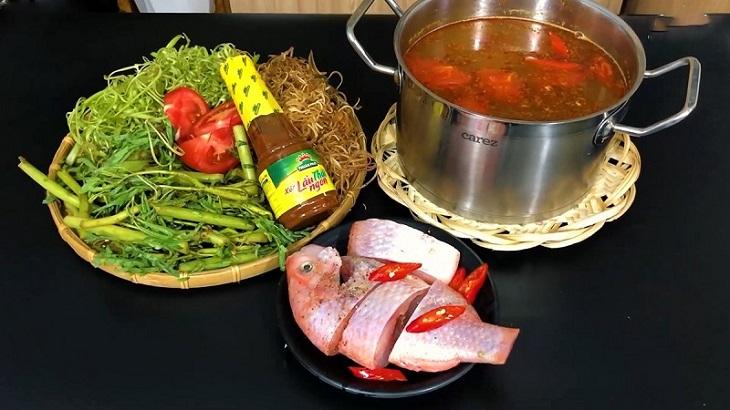 Cách nấu lẩu cá diêu hồng 1