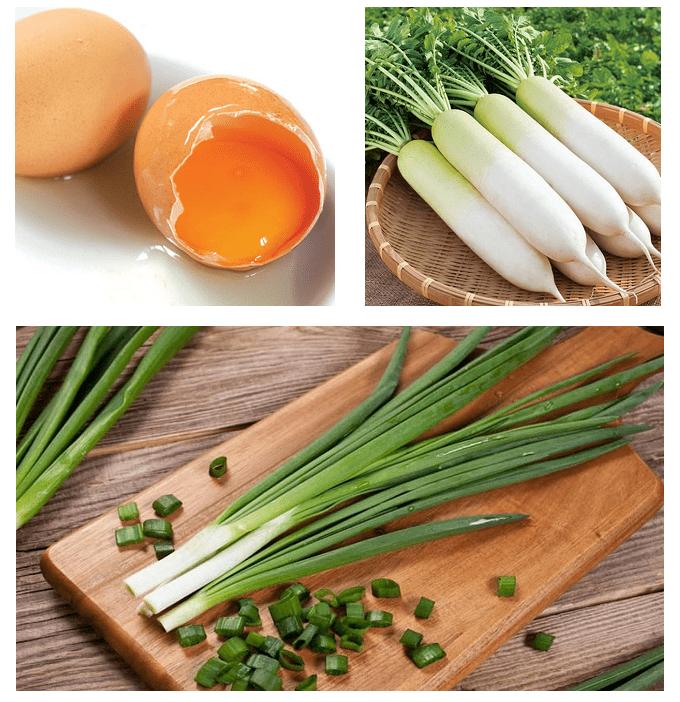 củ cải xào trứng