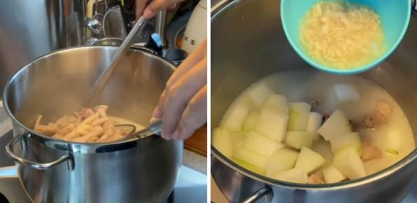 cách nấu súp bào ngư sườn heo bí đao 4